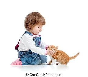 παιδί , λατρευτός , παίξιμο , γατάκι