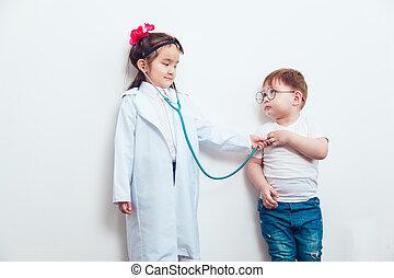 παιδί , μέσα , ένα , κουστούμι , από , άρθρο ακάνθουρος , με , ασθενής