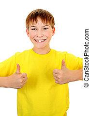 παιδί , πάνω , χειρονομία , αντίχειραs