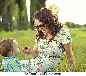παιδί , πάρκο , αυτήν , μητέρα