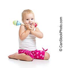 παιδί , παίξιμο , με , μιούζικαλ , toys., απομονωμένος , αναμμένος αγαθός , φόντο