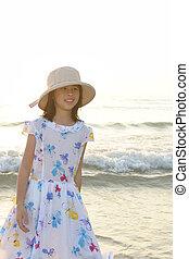 παιδί , παραλία , ασιάτης , παίξιμο