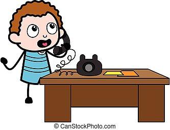 παιδί , τηλέφωνο , γελοιογραφία , λόγια