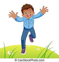 παιδί , τρέξιμο , ευτυχισμένος