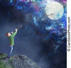 παιδί , φεγγάρι , αγρυπνία