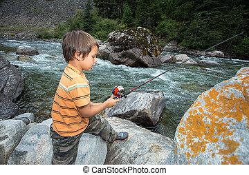 παιδί , ψάρεμα , μέσα , ο , river.