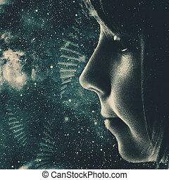 παιδιά , από , ο , σύμπαν , αφαιρώ , sci-fi , φόντο , για ,...
