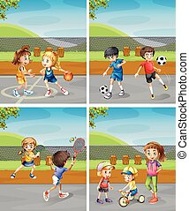 παιδιά , διαφορετικός , πάρκο , παίξιμο , αθλητισμός