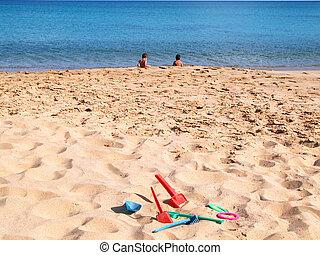 παιδιά , μέσα , ο , παραλία
