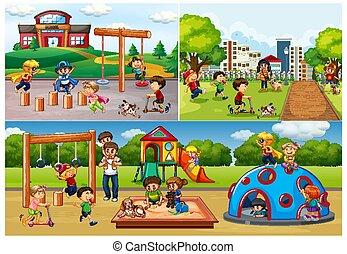 παιδική χαρά , πάρκο , άνθρωποι , θέτω
