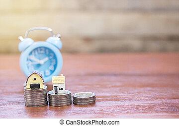 παιχνίδι , ρολόι , σπίτι , φόντο. , ξύλο , κέρματα , τραπέζι