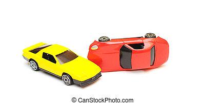 παιχνίδι , σύγκρουση αυτοκινήτου , accident., αυτοκίνητο , απομονωμένος , άμαξα αυτοκίνητο , άσπρο