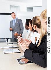 παλαμάκια , συνάντηση , businesspeople , άντραs
