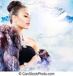παλτό , γυναίκα , γούνα , χειμώναs , πολυτέλεια