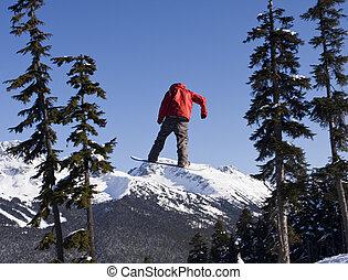 παλτό , snowboarder , κόκκινο