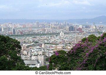 πανοραματικός , από , taipei , άστυ γραμμή ορίζοντα , από , διακεκριμένος ξενοδοχείο , λόφος , taiwan.