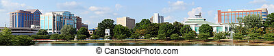πανοραματικός , cityscape , από , κάτω στην πόλη , huntsville, alabama , από , μεγάλος , άνοιξη , πάρκο