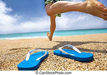 παντόφλα , τρέξιμο , παραλία , άντραs