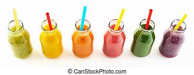 πανόραμα , από , υγιεινός , veggie , και , φρούτο , smoothies