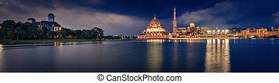 πανόραμα , καταπληκτικός , putra, γραμμή ορίζοντα , mosque., putrajaya, night., βλέπω