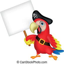 παπαγάλος , πειρατής , γελοιογραφία , με , κενό , si