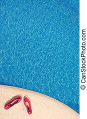 παπούτσια , από , πισίνα
