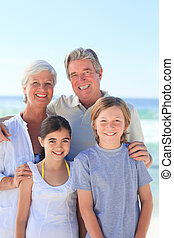 παππούς και γιαγιά , με , δικό τουs , εγγονή