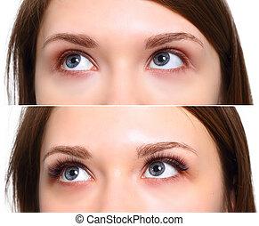 παράθεση , μάτια , βλεφαρίδα , extension., after., γυναίκα , πριν