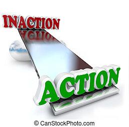 παράθεση , vs , λόγια , δράση , ισοζύγιο , αδράνεια