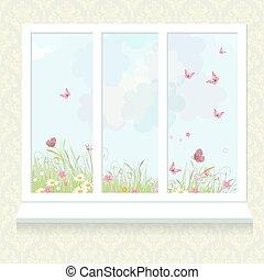 παράθυρο , λουλούδια , ηλιόλουστος , λιβάδι