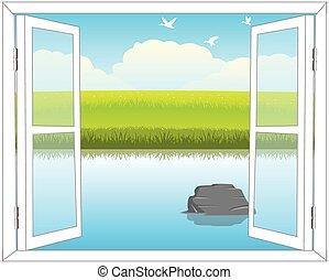 παράθυρο , μέσα , φύση