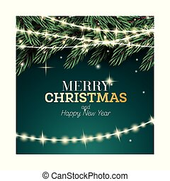 παράρτημα , γιρλάντα , πράσινο , xριστούγεννα , εύθυμος , ευτυχισμένος , ελάτη , νέο , φόντο. , year., καινούργιος