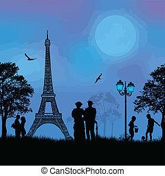 παρίσι , cityscape , άνθρωποι , silhouet