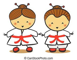 παραδοσιακός , κιμονό , παιδιά , γιαπωνέζοs , κοστούμι