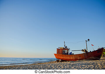 παραλία , ανατολή , ώρα , ψαράs , βάρκα
