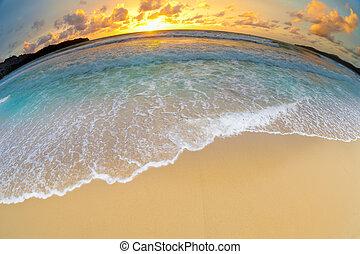 παραλία , ηλιοβασίλεμα , ή , θάλασσα , οκεανόs
