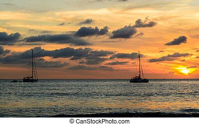 παραλία , ηλιοβασίλεμα , layan, σιάμ , phuket , ιστιοφόρο , όμορφος