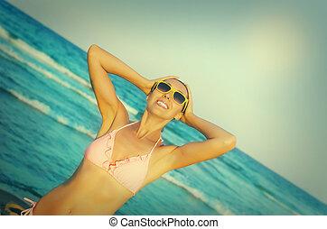 παραλία , κορίτσι , όμορφος