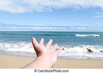 παραλία , μέσα , καλοκαίρι , με , γαλάζιος ουρανός