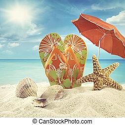 παραλία , πέδιλα , ομπρέλα , αστερίας , οκεανόs