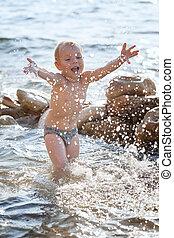 παραλία , παίξιμο , παιδί