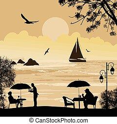 παραλία , πλοίο , περίγραμμα , θάλασσα , άνθρωποι