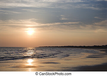 παραλία , σε , sunset.