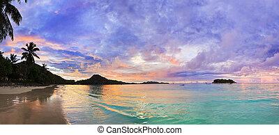 παραλία , τροπικός , καλύβι , seychelles , ηλιοβασίλεμα , d'or