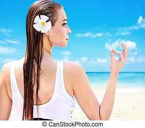 παραλία , τροπικός , κυρία , όμορφη