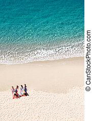 παραλία , copyspace , άνθρωποι , μπόλικος , δυο , τροπικός , κειμένος , βλέπω