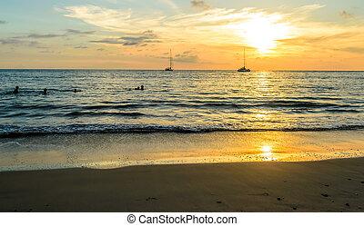 παραλία , layan, phuket απομονώνω , ηλιοβασίλεμα , σιάμ