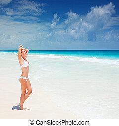 παραλία , suntanning , γυναίκα , χαριτωμένος