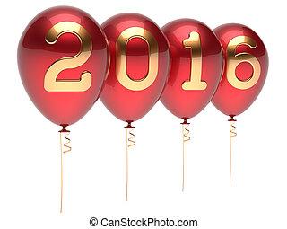 παραμονή , έτος , διακόσμηση , καινούργιος , πάρτυ , 2016, μπαλόνι , xριστούγεννα , κόκκινο