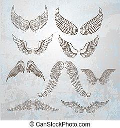 παρασκήνια , set., χέρι , μετοχή του draw , illustration.